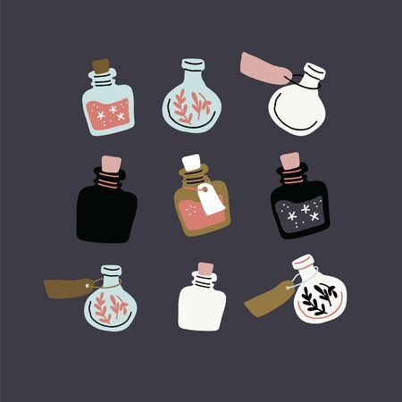 Vector set with colorful magic cartoon bottles and love potions. Vector illustration. Magic elixir hand drawn collection isolated on dark. Scandinavian style magician square banner, poster