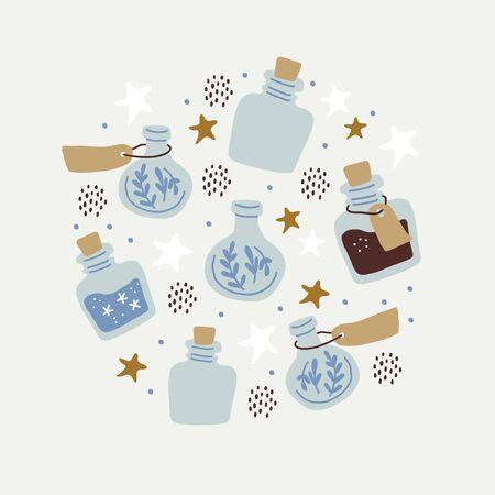 Ilustración de círculo con coloridas botellas de dibujos animados mágicos, estrellas, pociones de amor. Ilustración vectorial. Colección de dibujado a mano de elixir mágico aislado. Banner de mago de estilo escandinavo, cartel