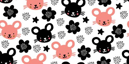 Seamless pattern with cute mouses, stars, polka dots, flowers in minimalistic scandinavian style on white background. Creative vector childish background for fabric, textile. Kids hand drawn pattern