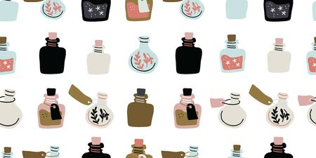 Seamless pattern with colorful magic cartoon bottles and love potions on white. Vector illustration. Magic elixir hand drawn pattern design on light background. Scandinavian style magician pattern 向量圖像