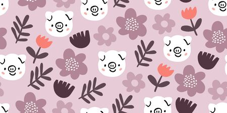 Cute pigs characters pink seamless pattern with spring flowers in minimalistic scandinavian style. Pig character doodle. Kids seamless pattern