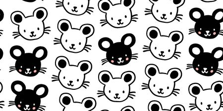 Seamless pattern with cute black and white mouses in minimalistic scandinavian style on white background. Creative vector childish background for fabric, textile. Kids hand drawn pattern