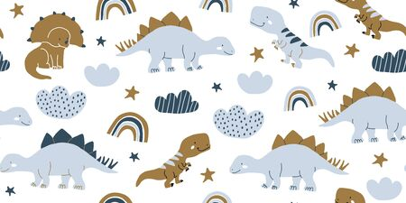 Hand drawn cute dinosaurs seamless pattern. Childrens pattern with dinos, rainbows, clouds, stars, polka dots for fashion clothes, shirt, fabric. Scandinavian design. Kids blue dino pattern for boys