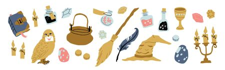 Huge set of elements for witches at school of magic icons isolated on white. Broom, bottles with potion, stars, dots, hat, owl, letter, book with spells, talking hat, candlestick. Vector illustration