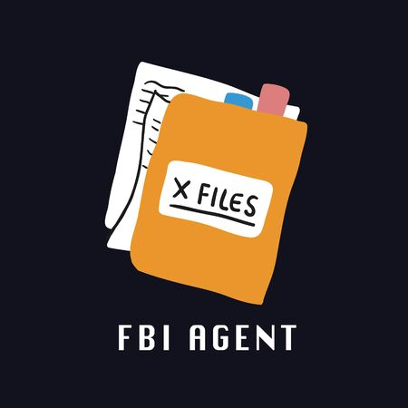 Special services agent FBI folder with documents and FBI agent lettering. Men in black inspired. Perfect space theme illustration for kids tshirt and fabric design. 90s tshirt on black background