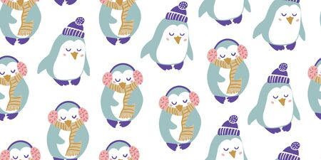 Seamless pattern with cute penguins with headphones, scarf, hat in minimalistic hand drawn style on white. Penguin character doodle. Winter kids seamless pattern