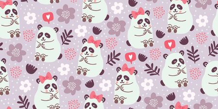 Seamless pattern with cute pandas couples in love with flowers, speech bubble with love emoji, polka dots in pastel colors. Valentines day kids pattern with cute animals. Children pattern.