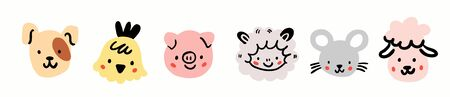 Dog, chicken, pig, sheep, mouse, goat round face head icon set. Cute farm animals. Cute cartoon character. Funny baby kids print. Flat design. White background Isolated Ilustracja