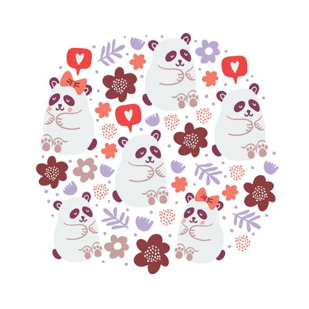 circle illustration of cute pandas couples in love with flowers, speech bubble with love emoji, polka dots isolated on white background. Square poster design with cute animals. Valentines day postcard 向量圖像