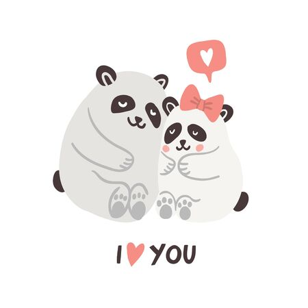 Vector illustration of cute couple of pandas hugging with speech bubble with love emoji and lettering. Valentines day animals illustration. Cute in love pandas. 向量圖像