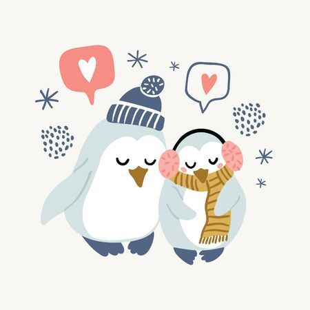 Vector illustration of cute couple of penguins in warm clothes - hat, headphones, scarf hugging with love bubbles, snowflakes. Valentines day animals illustration. Cute in love penguins. 向量圖像