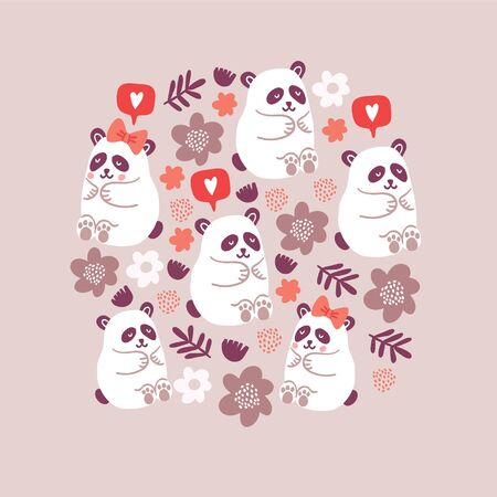 circle illustration of cute pandas couples in love with flowers, speech bubble with love emoji, polka dots isolated on brown background. Square poster design with cute animals. Valentines day postcard
