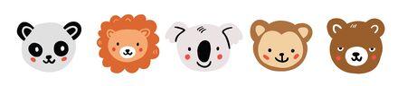 Panda, lion, koala, monkey, bear round face head icon set. Cute cartoon animals. Funny baby kids print. Flat design. White background Isolated