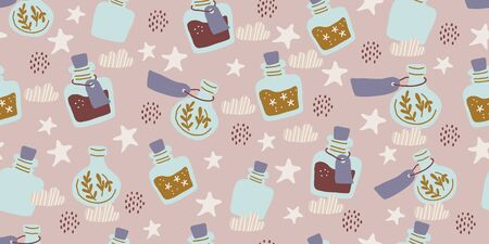 Seamless pattern with colorful magic cartoon bottles and love potions with stars, polka dots. Vector illustration. Magic elixir hand drawn pattern design. Scandinavian style magician pattern