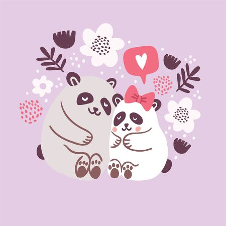 Vector illustration of cute pandas hugging each other with speech bubble with heart symbol and flowers on pink background. Valentines day animals illustration. Cute pandas in love
