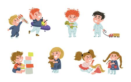 Collection of happy adorable babies playing with various toys - dinosaur, teddy bear, truck, cubes, dolls. Set of playful infant children isolated on white. Flat cartoon colorful vector illustration