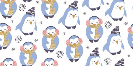 Seamless pattern with cute penguins with headphones, scarf, hat with snowflakes in minimalistic hand drawn style on white. Penguin character doodle. Winter kids seamless pattern 向量圖像