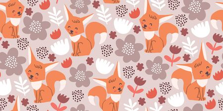 Seamless pattern with cute foxes, flowers, herbs, polka dots. Woodland children pattern. Scandinavian style childish texture for fabric, textile, apparel, nursery decoration