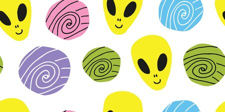 childish seamless pattern with hand drawn cosmos ufo alien spaceships, planets, satellites, galaxies, constellations. Trendy kids vector background in doodle style. sci-fi kids pattern 向量圖像