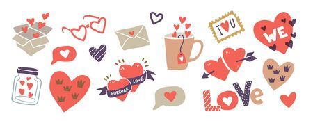 Pack of love stickers with hearts. Hand drawn hearts, words, mug, bottle, box in doodle style. Love concept. Template for stickers, greeting scrapbooking, congratulations, Invitations, planners.