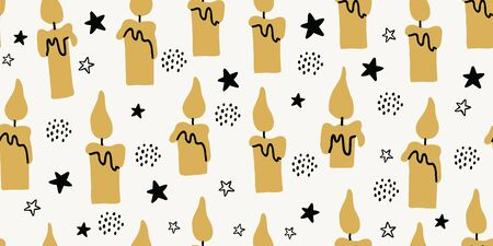 Vector seamless pattern with flying candles. Scandinavian style pattern on white background. Cute modern stylish print for textile, fabrics, dress for kids. Children pattern with candles
