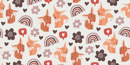 Seamless pattern with cute foxes, flowers, rainbows, hearts on light background. Woodland children pattern. Scandinavian style childish texture for fabric, textile, apparel, nursery decoration 向量圖像