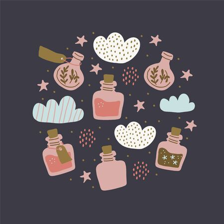 Circle illustration with colorful magic cartoon bottles, stars, love potions. Vector illustration. Magic elixir hand drawn collection isolated. Scandinavian style magician banner, poster