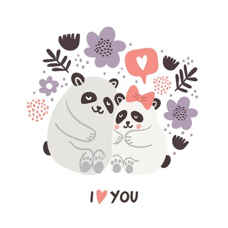 Vector illustration of cute pandas hugging each other with speech bubble with heart symbol and flowers on white background. Valentines day animals illustration. Cute pandas in love 向量圖像