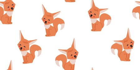 Seamless pattern with cute foxes on white background. Woodland children pattern. Scandinavian style childish texture for fabric, textile, apparel, nursery decoration