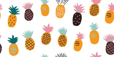 Colorful minimalistic abstract pineapples and leaves seamless pattern. Stylish tropical doodle vector pattern. Kids pattern in scandinavian style Reklamní fotografie - 137935185
