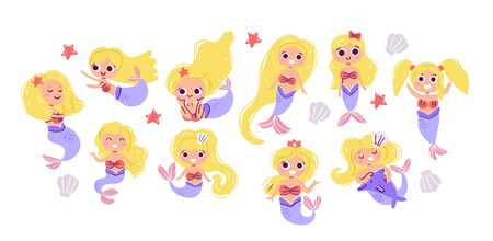 Vector collection of cute blond mermaids, hand drawn style. Under the sea set  - little mermaids, seashells, stars. Perfect for kids graphic tees, fabric, textile, posters, stickers