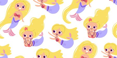 Seamless pattern with cute little blond mermaids, hand drawn style. Under the sea pattern  - little mermaids, seashells. Perfect for kids textile graphic tees, fabric, textile, posters, stickers