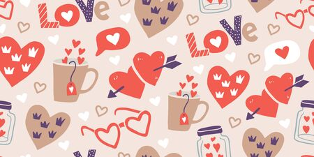 Seamless pattern with love stickers, hearts. Hand drawn hearts, words, mug, bottle, box in doodle style. Template for invitations, planners, wrapping paper, textile. Valentines day pattern Reklamní fotografie - 139282288