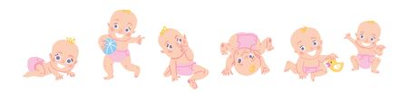 Cute baby girl or toddler vector illustration in various poses such as standing, sitting, playing, crawling. Baby shower illustration in hand drawn cartoon style. European children  activities