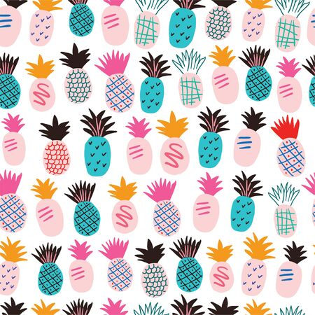 Colorful minimalistic abstract pineapples and leaves seamless pattern. Stylish tropical doodle vector pattern. Kids pattern in scandinavian style