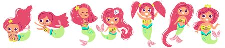 Vector collection of cute european mermaids with red hair, hand drawn style. Under the sea character. Perfect for kids graphic tees, fabric, textile, posters, stickers