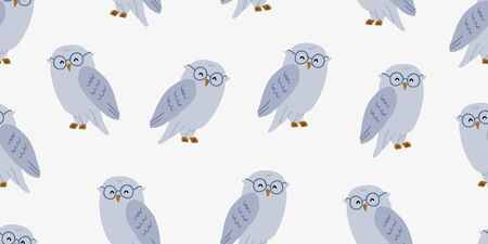 Seamless pattern with cute owl in eyeglasses. Cute kids animal pattern on white background. Cute owl design.  Perfect for kids textile graphic tees, fabric, textile, posters, stickers