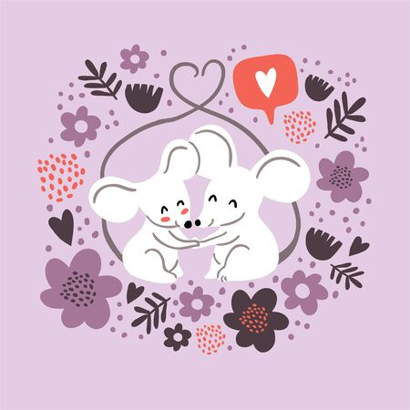 Circle illustration of cute couple of mouses hugging, tails united in form of heart, with love emoji, flowers frame. Valentines day animals illustration. Love concept. Cute couple of mouses in love Ilustrace
