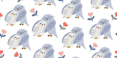 Seamless pattern with cute couple of owls with flowers. Love concept. Valentines day animals pattern. Cute owl design.  Perfect for kids textile graphic tees, fabric, textile, posters, stickers