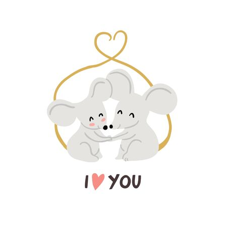 Cute couple of mouses hugging with tails united in form of heart isolated on white. Valentines day animals illustration. Love concept. Vector illustration. Cute couple of mouses in love