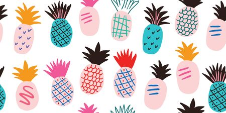 Colorful minimalistic abstract pineapples seamless pattern. Stylish tropical doodle vector pattern. Kids pattern in scandinavian style