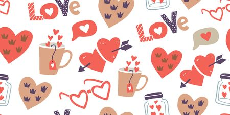 Seamless pattern with love stickers, hearts. Hand drawn hearts, words, mug, bottle, box in doodle style. Template for invitations, planners, wrapping paper, textile. Valentines day pattern