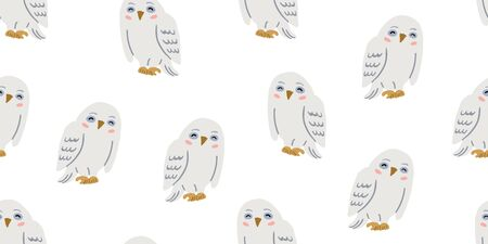 Seamless pattern with cute smiling owl. Cute kids animal pattern on white background. Cute owl design.  Perfect for kids textile graphic tees, fabric, textile, posters, stickers