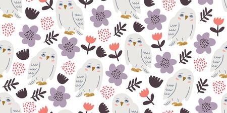 Seamless pattern with cute owls with tulips and other flowers. Cute owl design. Perfect for kids textile graphic tees, fabric, textile, posters, stickers. Kids animal pattern in doodle cartoon style