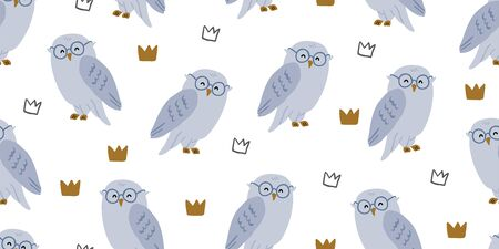 Seamless pattern with cute owl in eyeglasses and crowns. Cute kids animal pattern on white background. Cute owl design. Perfect for kids textile graphic tees, fabric, textile, posters, stickers