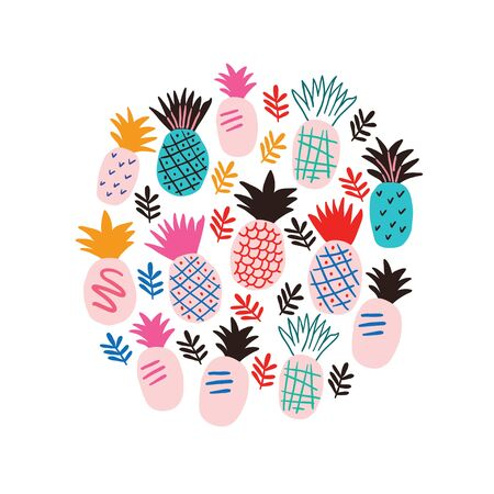 Circle illustration with colorful pineapples and tropical leaves. Stylish tropical fruits doodle vector design. Tropical illustration in scandinavian style Ilustrace