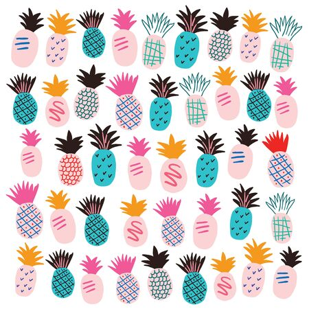 Set of colorful abstract pineapples isolated on white. Cute pineapples doodles. Square banner with tropical fruits on white background. Hand drawn tropical vector illustration.