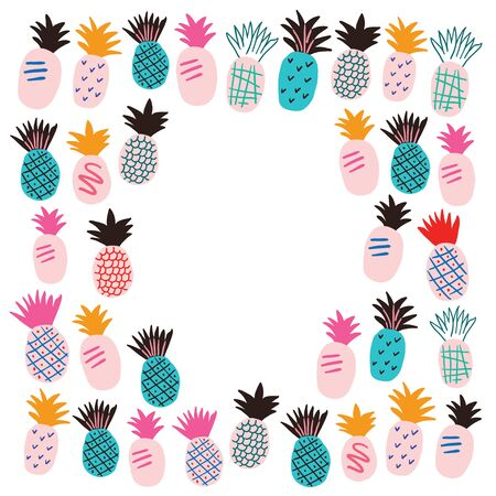 Horizontal frame with colorful pineapples. Stylish tropical fruits doodle vector design. Tropical frame in scandinavian style Ilustrace
