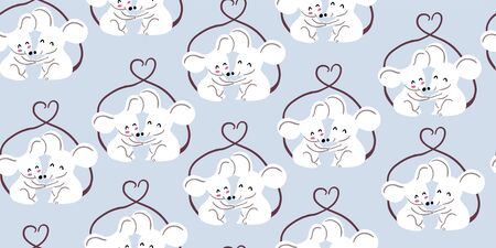 Seamless pattern with cute couple of mouses hugging, tails united in form of heart on light blue background. Valentines day animals kids pattern. Love concept. Cute couple of mouses in love Ilustrace