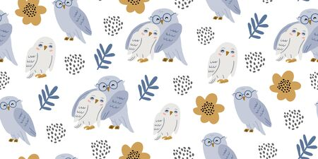 Seamless pattern with cute owls couples hugging with flowers and polka dots. Cute kids birds pattern on white background. Perfect for kids textile graphic tees, fabric, textile, posters, stickers